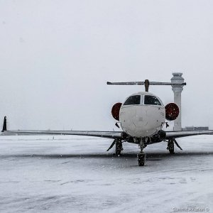 At home in the snow  Photo by @gentlemanaviator  #Embraer #phenom300 #embraerstories #flyingisawesome #privatejet #flying #bizav #instaplane #instagramaviation #Aviation #airplanes #aircraftsales #snowday #isitspringyet #brrrr